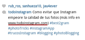 Insertar enlaces en descripcion fotos Instagram