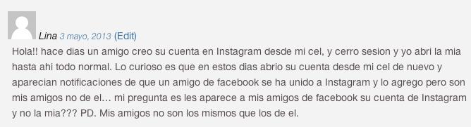Instagram muestra notificaciones Facebook de otra persona