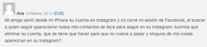 Problema buscar amigos facebook en Instagram