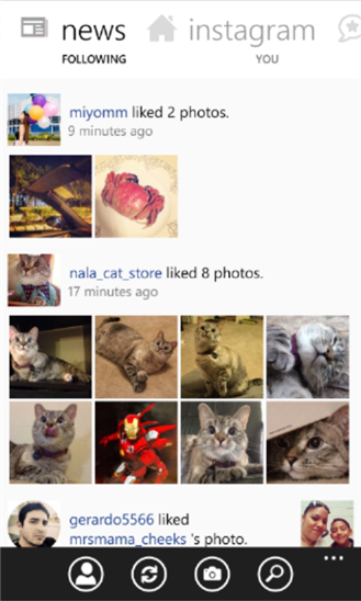 Noticias de personas que sigo en Instagram para Windows Phone